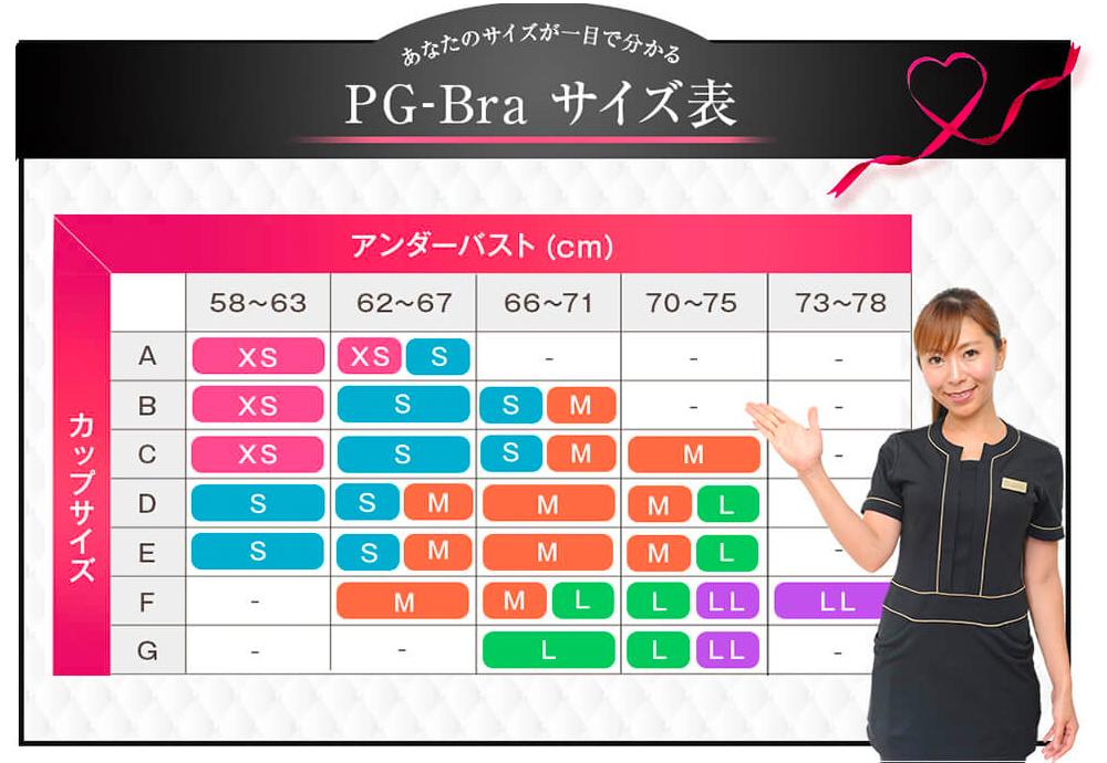 PG-bra(ピージーブラ)のサイズ